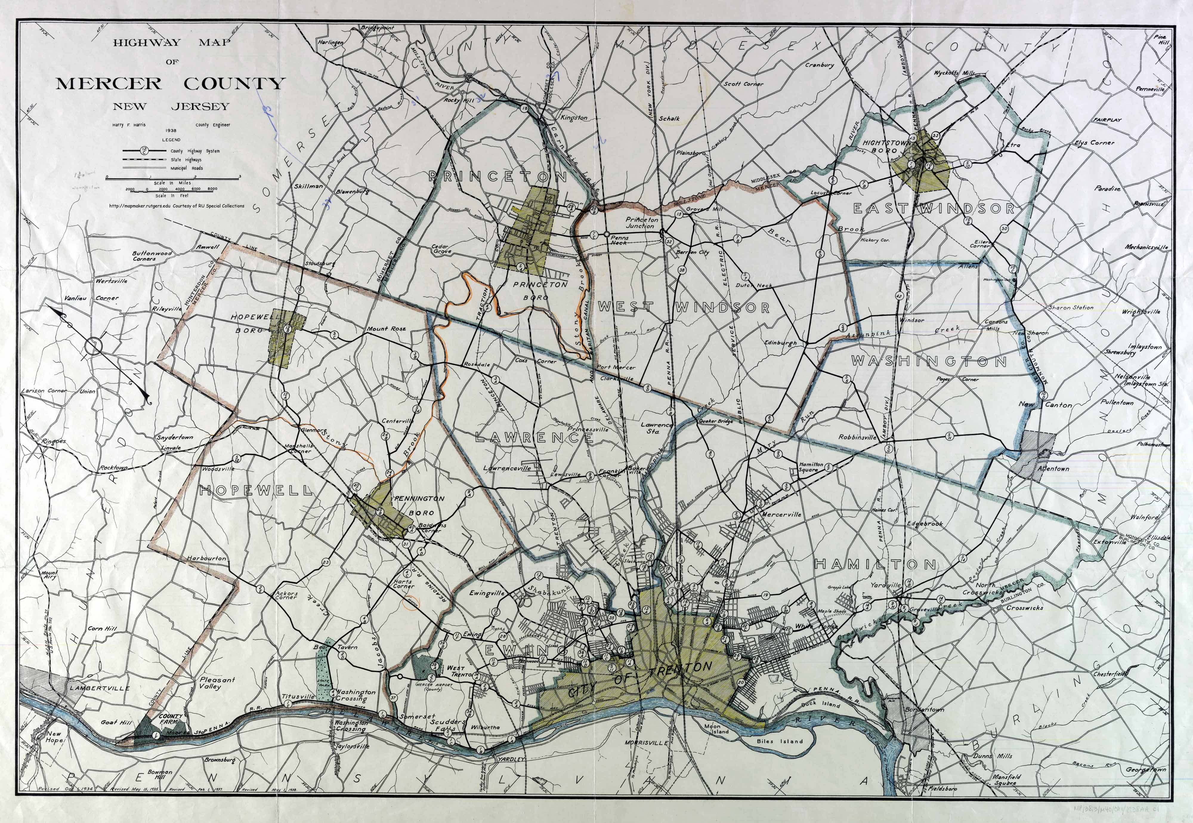 Maps Mercer County 1938